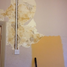 Day one - wallpaper stripping to see what state the plaster is in