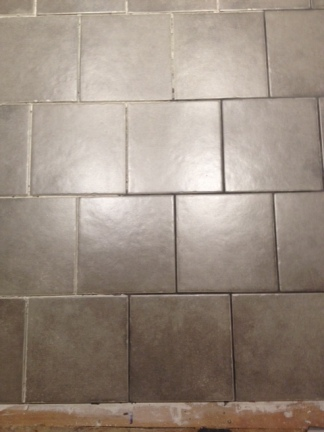 Grouting! Pale grey...nice