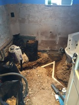 Pipes going down for sink and toilet