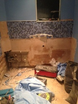 Suite and tiles start being ripped out
